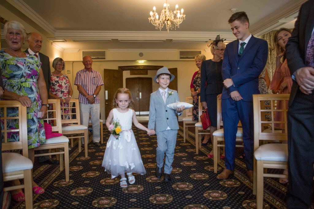 Stanton House Hotel, Swindon, Bridesmaid Pageboy Walking down Aisle With Rings
