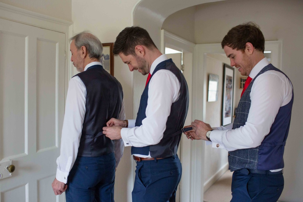Kings Head Hotel Winter Wedding, Cirencester, Groom Father Best Man Getting Ready