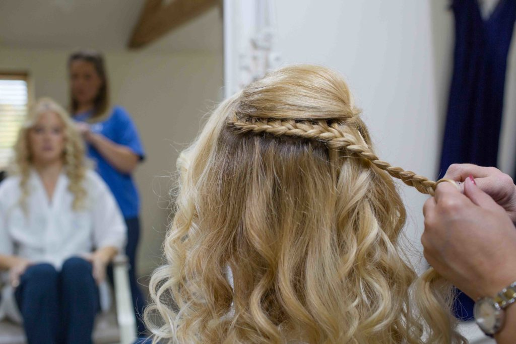 Caswell House, Oxfordshire, Bride Hair Braids Being Done