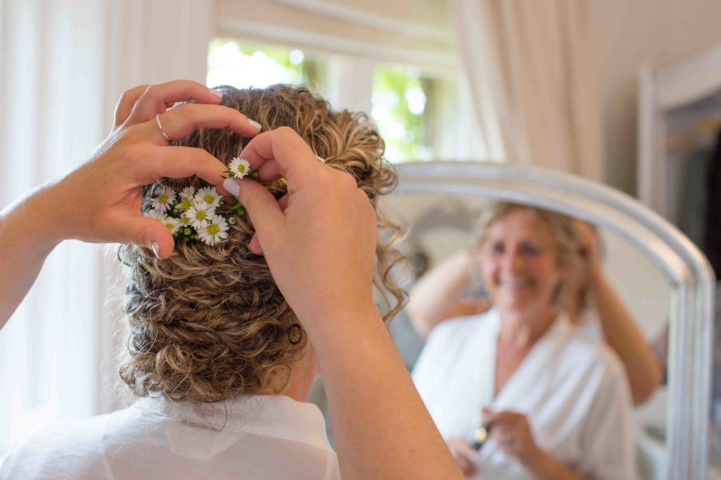 Manor by the Lake, Cheltenham, Wedding, Bride Getting Ready Hair Closeup Daisies