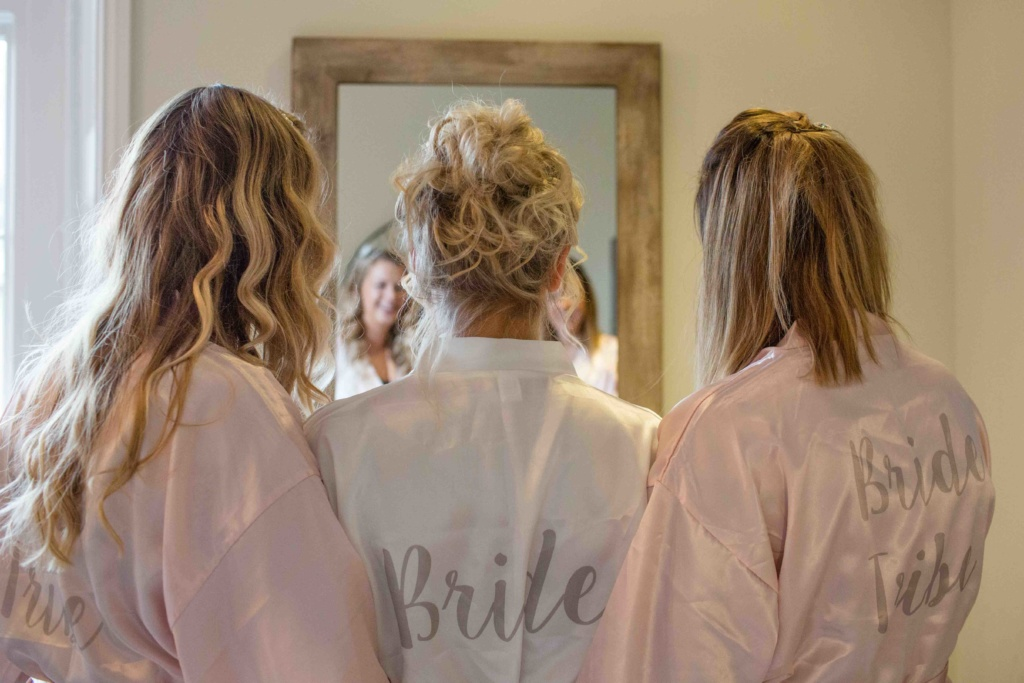 Kings Head Hotel Winter Wedding, Cirencester Bride Bridesmaids Dressing Gowns