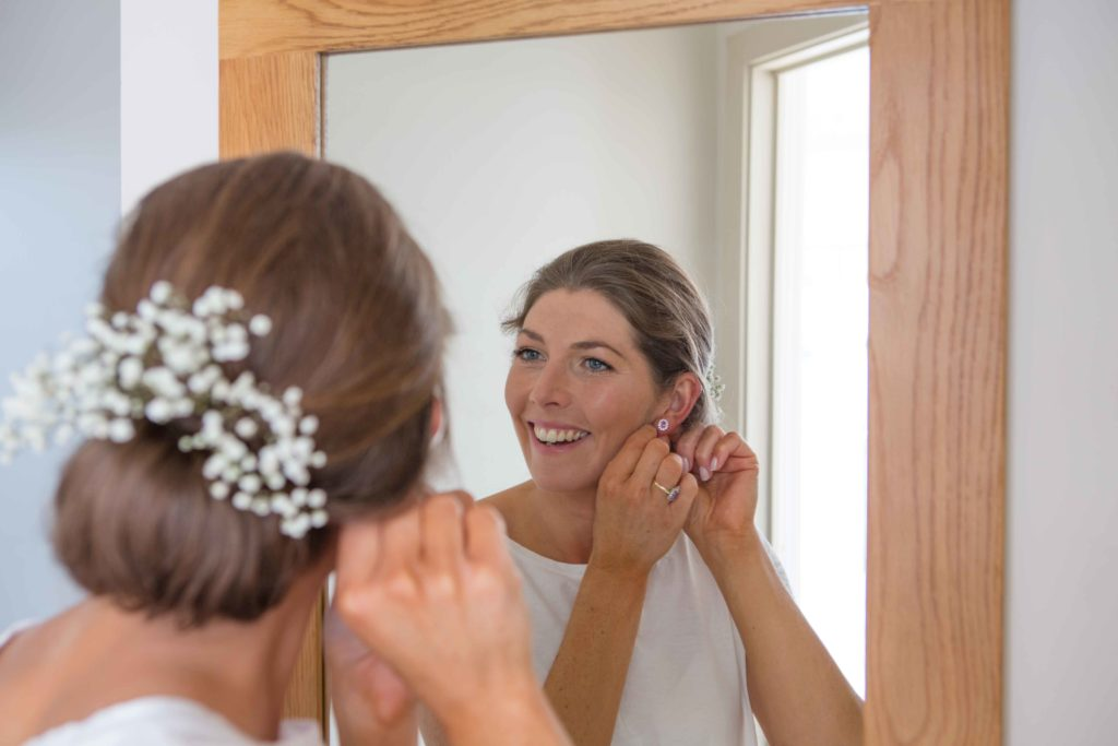 Brimpsfield Park, Wedding, Bride Getting Ready Mirror