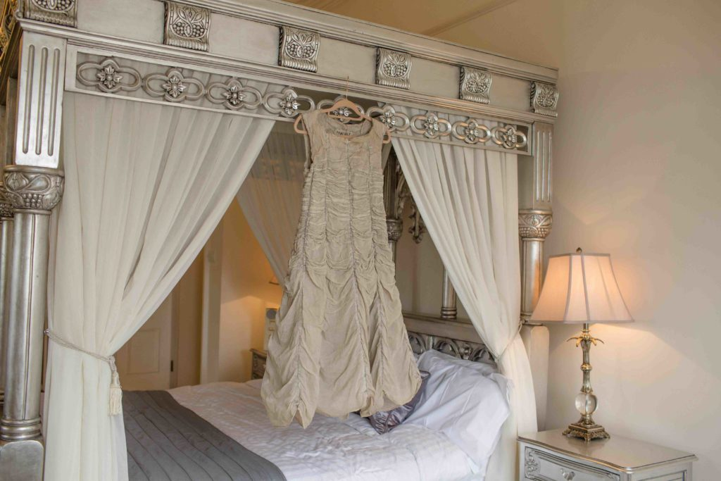 Manor by the Lake, Cheltenham, Wedding, Beautiful Wedding Dress Hugh up on Four Poster Bed