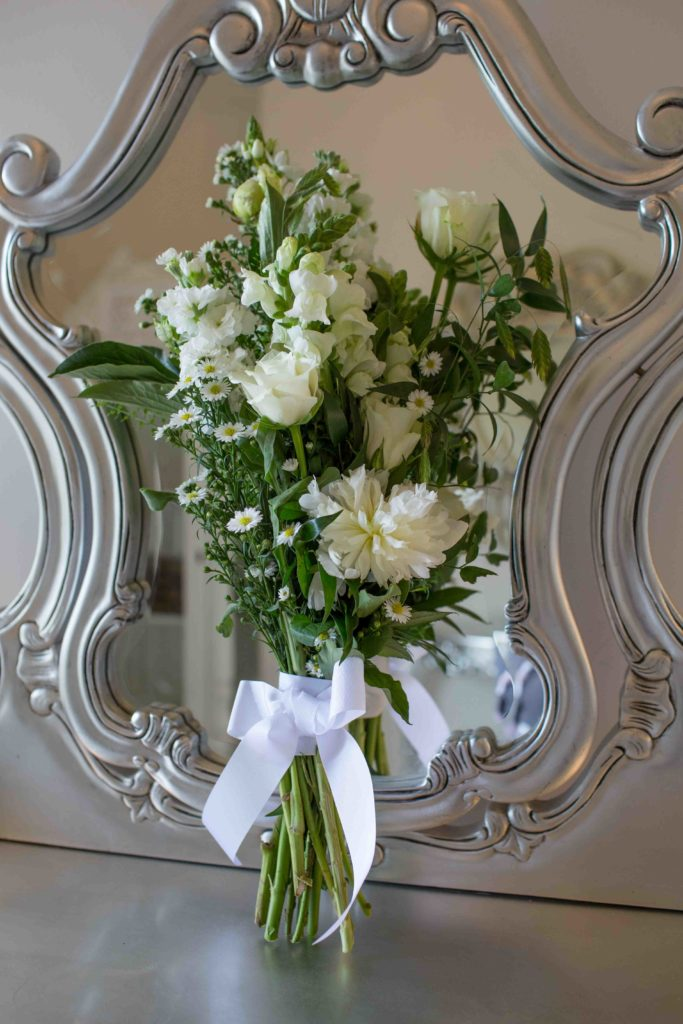 Manor by the Lake, Cheltenham, Wedding, Bouquet Leaning Against Mirror