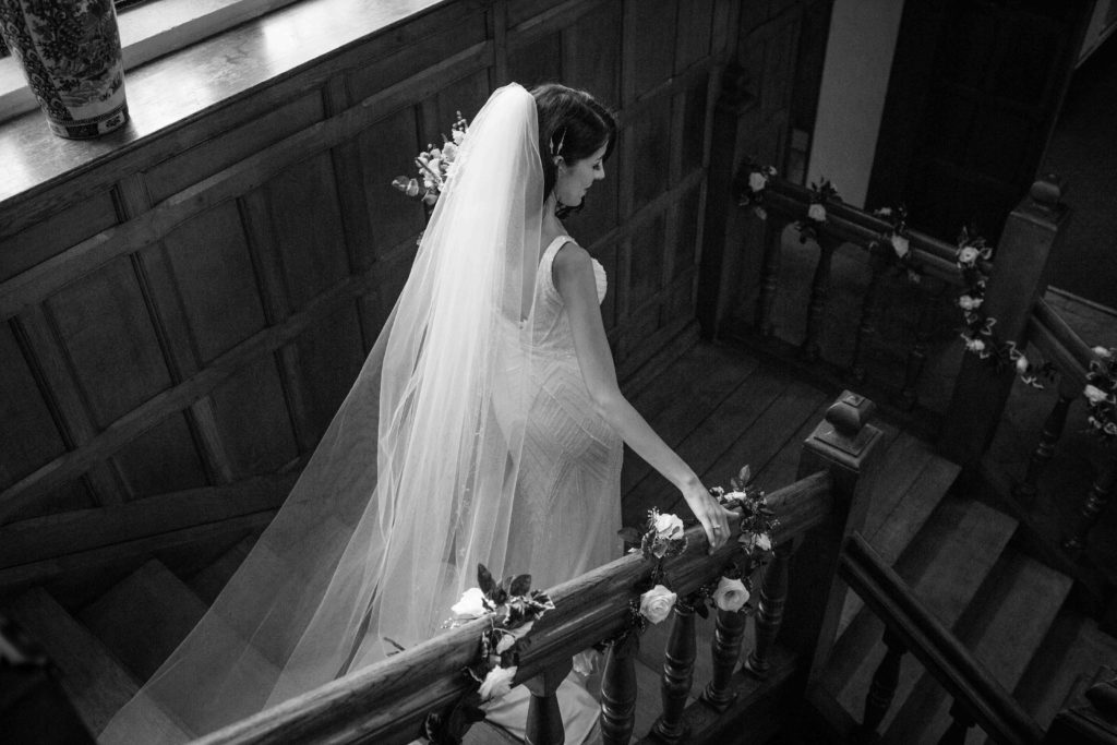 Stanton House Hotel, Swindon, Bride Walking Down Stairs Black and White