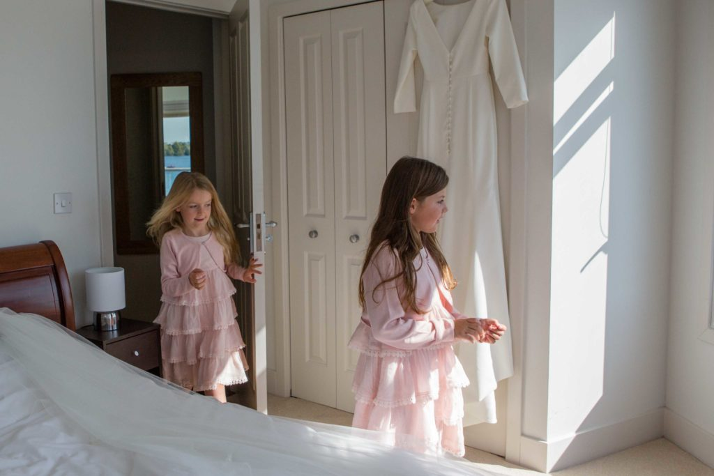 Brimpsfield Park, Wedding, Young Bridesmaids Getting Ready