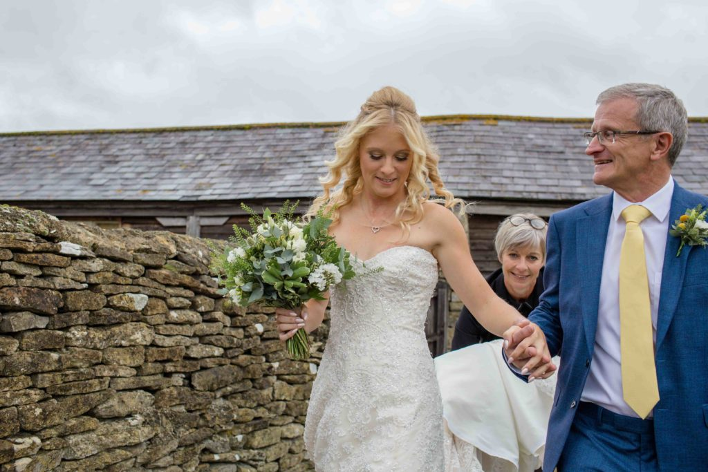 Caswell House, Oxfordshire, Ceremony Bride Father Bride Walking Outside Stone Wall