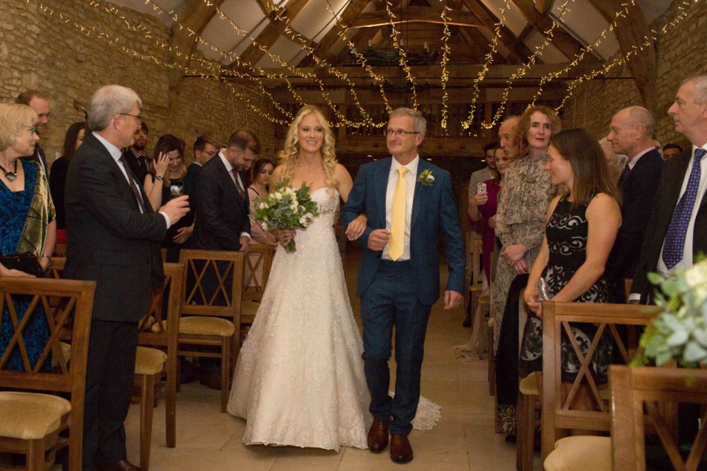 Caswell House, Oxfordshire, Ceremony Bride Father Bride Walking Aisle