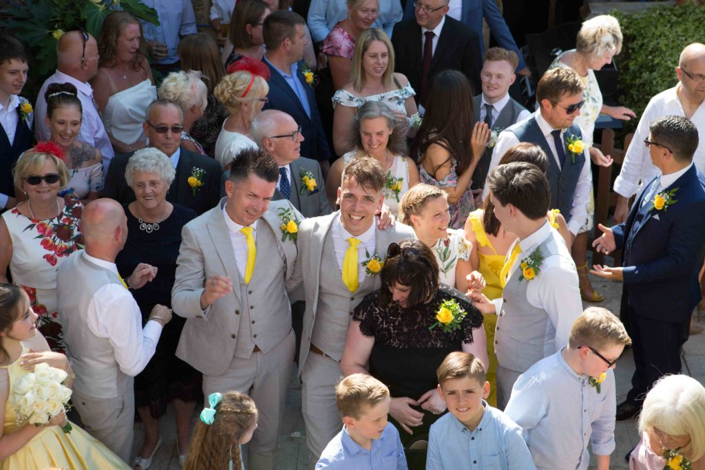 Highworth Hotel, Swindon, Wedding Groom Groom Guests Image from Above