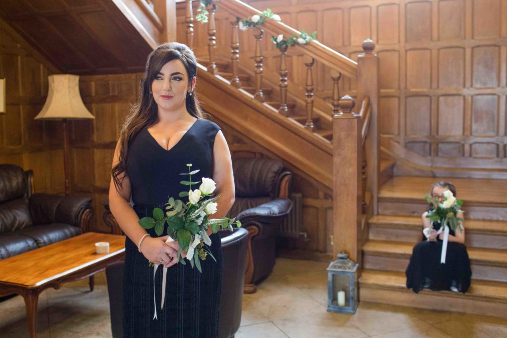 Stanton House Hotel, Swindon, Ceremony Bridesmaids Stood and Sat Stairs
