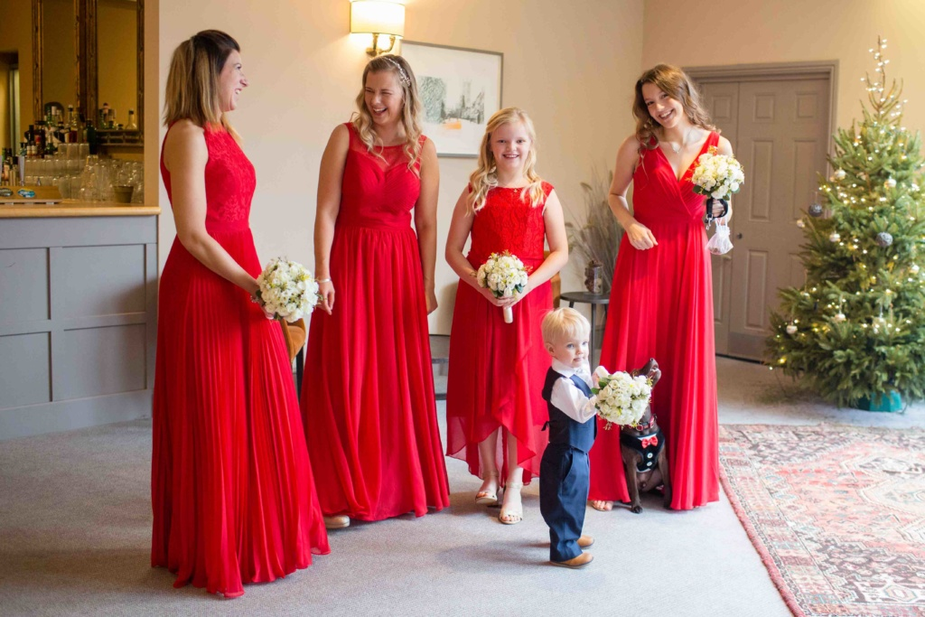 Kings Head Hotel Winter Wedding, Cirencester Bridesmaids Pageboy