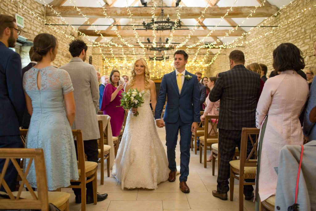 Caswell House, Oxfordshire, Bride Groom Ceremony Walking Down Aisle