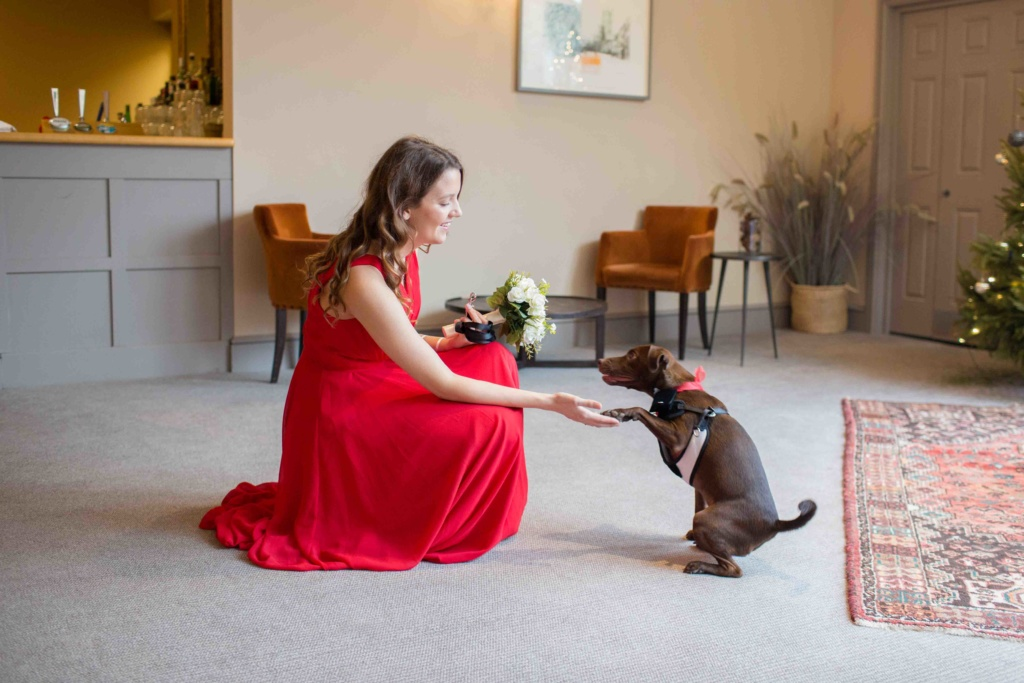 Kings Head Hotel Winter Wedding, Bridesmaid Brown Dog