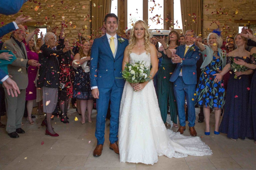 Caswell House, Oxfordshire, Bride Groom Guests Lots of Confetti