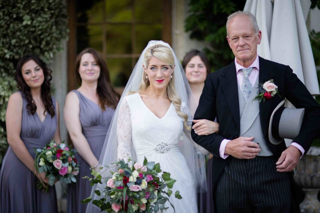 Barnsley House Wedding Bride Father Bridesmaids