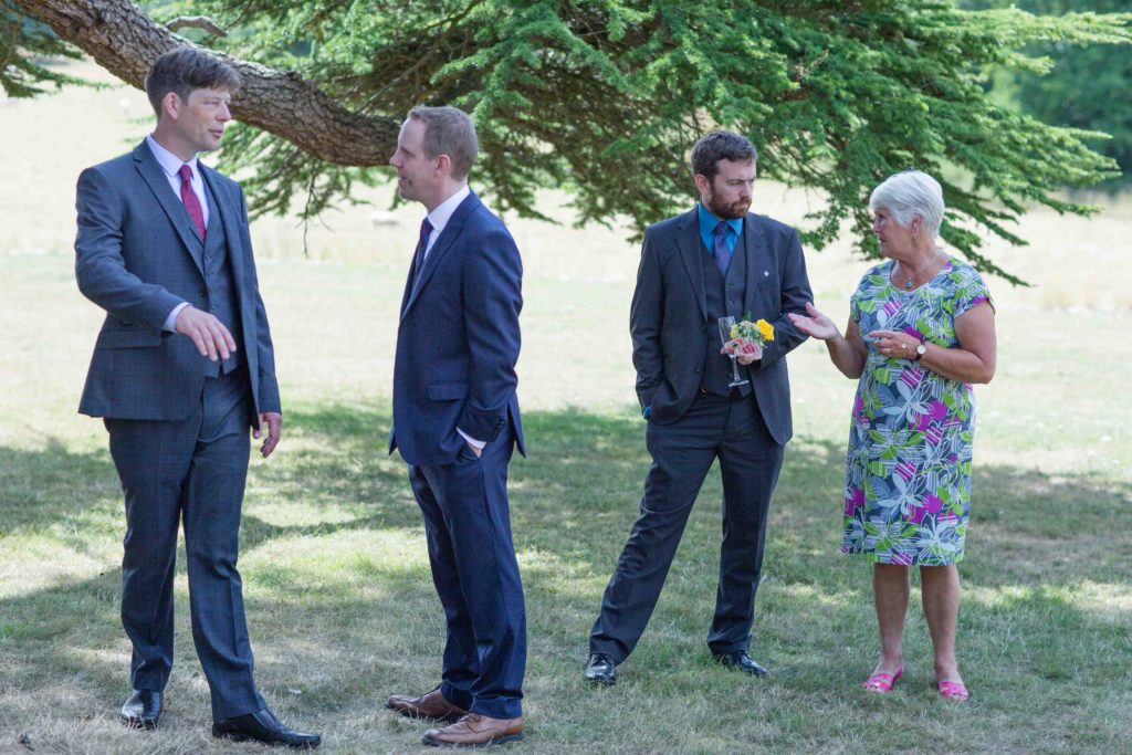 Stanton House Hotel, Swindon, Summer Wedding, Guests Chatting Grounds