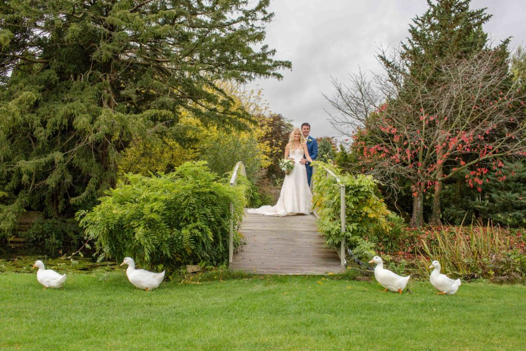 Cotswolds Wedding Photography, Caswell House, Grounds Bride and Groom stood on wooden bridge with white ducks walking on lawn in foreground