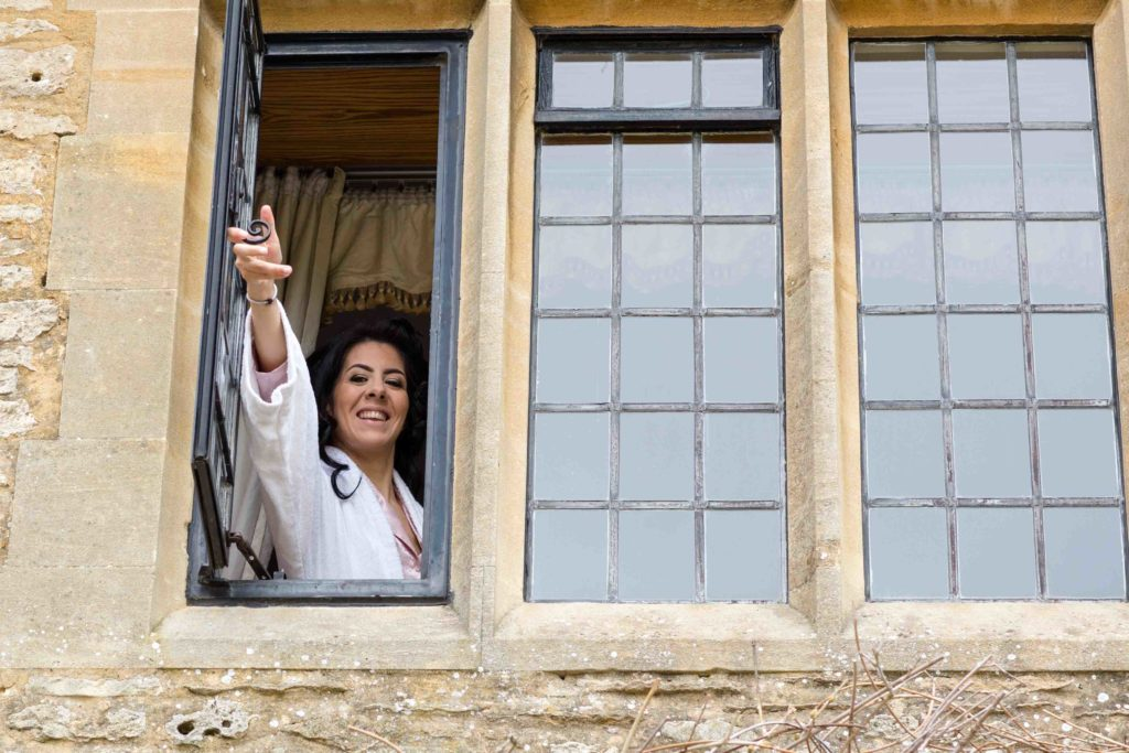 Stanton House Hotel, Wiltshire, Bride Looking out Window