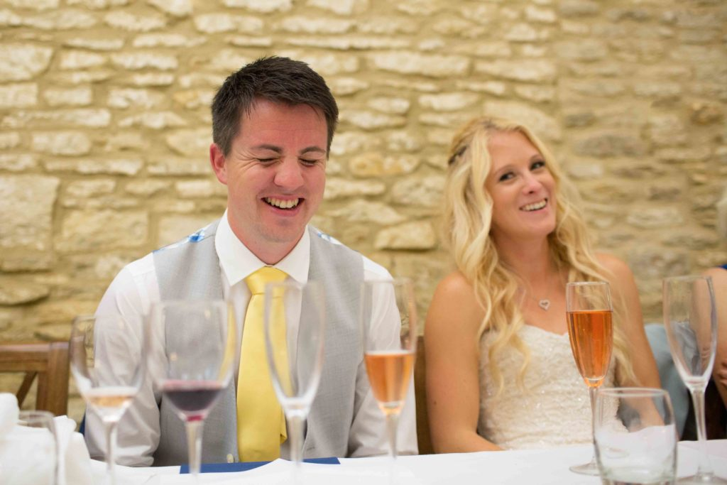 Caswell House, Oxfordshire, Speeches Bride Groom Laughing