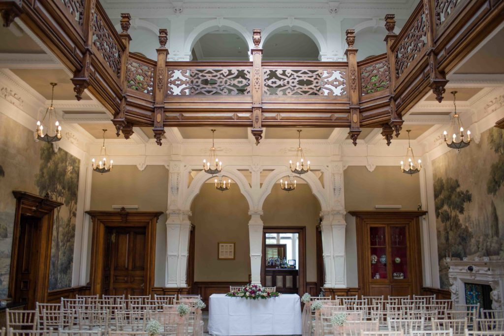 Clevedon Hall, view of hall with stunning balcony, and dual archways, used for the wedding ceremony