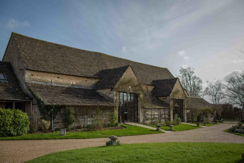 The Great Tythe Barn, front View with path running to entrance